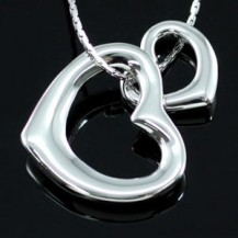 Кулон 18k White Gold Plated Double Heart Necklace SN217