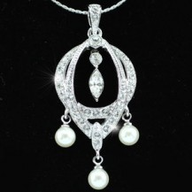 Кулон White Shell Pearl Pendant Necklace use Swarovski Crystal SN152