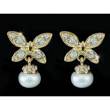 Серьги Butterfly White Shell Pearl Gold Plate Earrings SE095