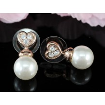 Серьги White Shell Pearl Rose Gold Plated Stud Earrings SE151